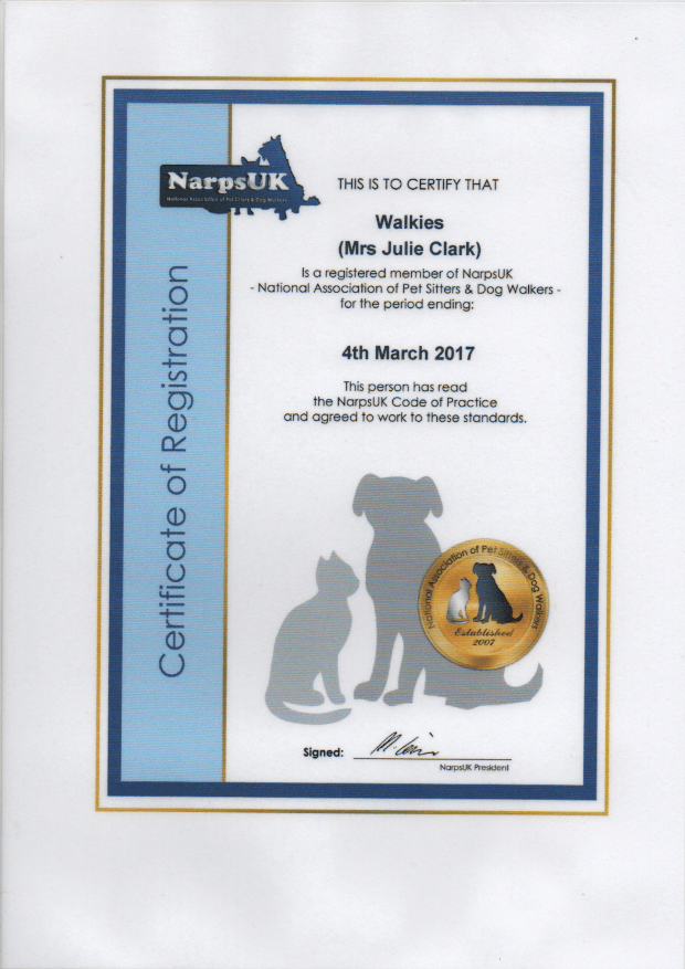 """Walkies"" Dog Walking Services 07515 340 971 - Certificate 1"